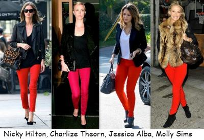 Celebrities wearing Red Jeans